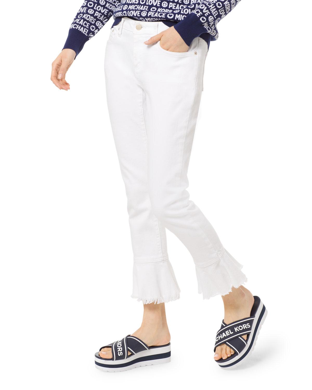 0f28af2b95db MICHAEL Michael Kors Izzy Flounce-Hem Cropped Skinny-Leg Jeans ...