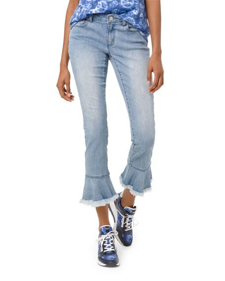 MICHAEL Michael Kors Izzy Mid-Rise Cropped Skinny Jeans w/ Flounce Hem