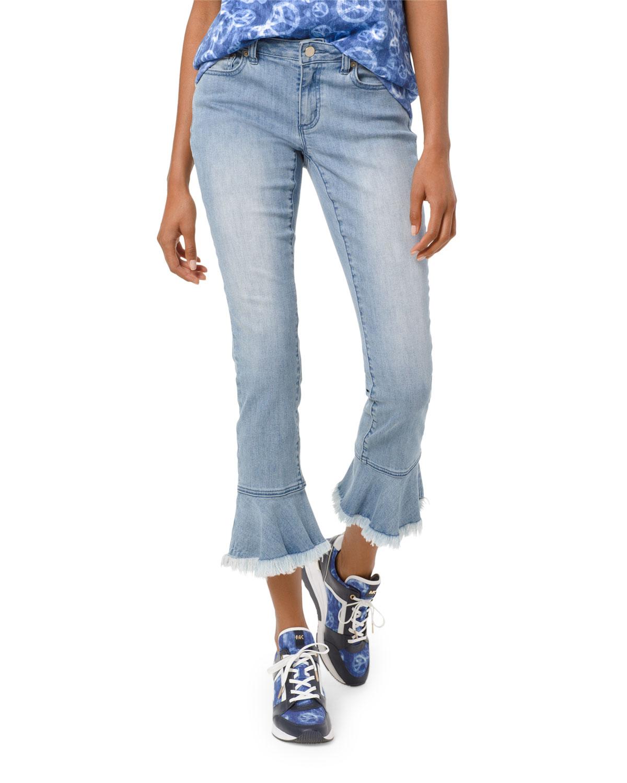 96e865d5b428 MICHAEL Michael Kors Izzy Mid-Rise Cropped Skinny Jeans w/ Flounce Hem