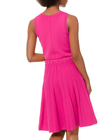 MICHAEL Michael Kors Scoop-Neck Sleeveless Dress with Grommet Lacing