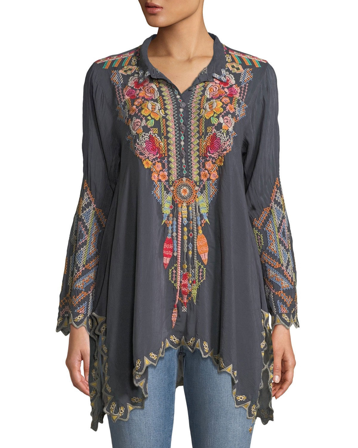 65d8bb1e6297 Johnny Was Festival Long-Sleeve Embroidered Georgette Tunic