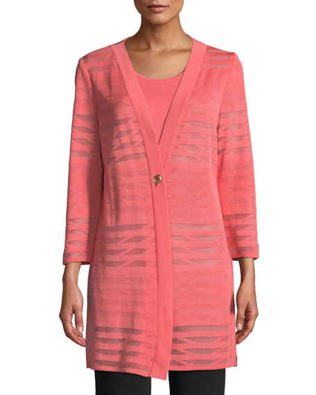 Image 1 of 3: Misook Plus Size Subtle Striped Long Jacket