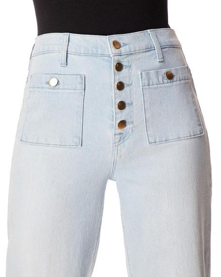 J Brand Joan High-Rise Cropped Wide-Leg Jeans w/ Patch Pockets