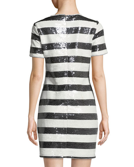 Aidan by Aidan Mattox Striped Sequin Short-Sleeve Cocktail Dress with Love Applique