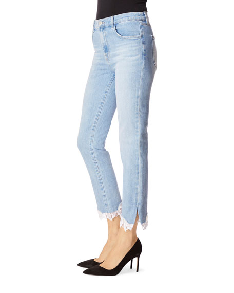 J Brand Ruby High-Rise Cropped Cigarette Jeans w/ Lace Hem