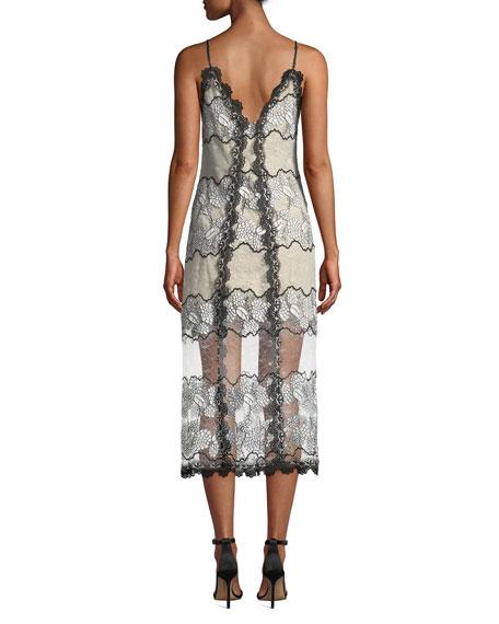 Elliatt Villa Spaghetti-Strap V-Neck Floral Lace Midi Dress w/ Sheer Hem
