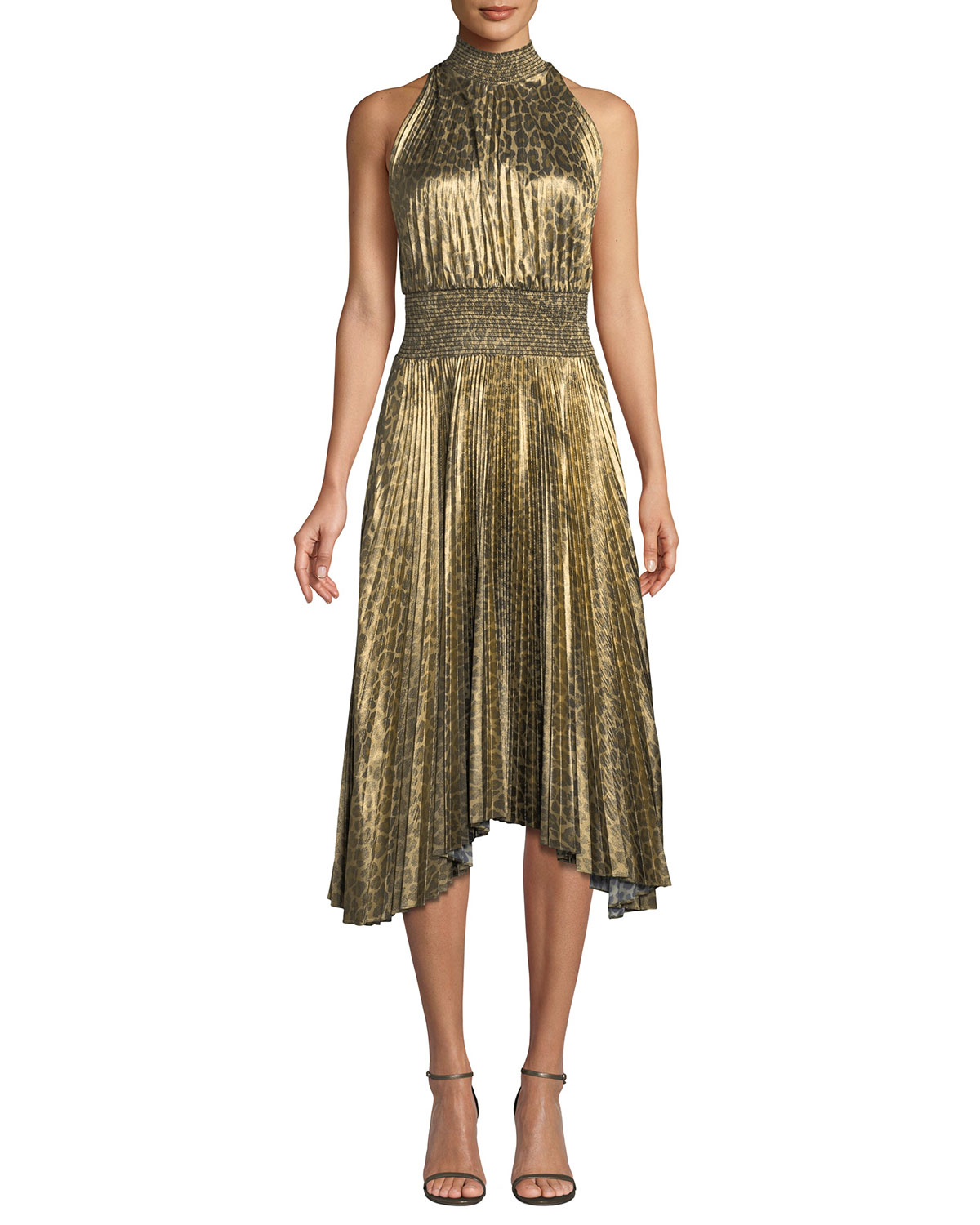A L C Renzo High Neck Pleated Midi Dress Neiman Marcus