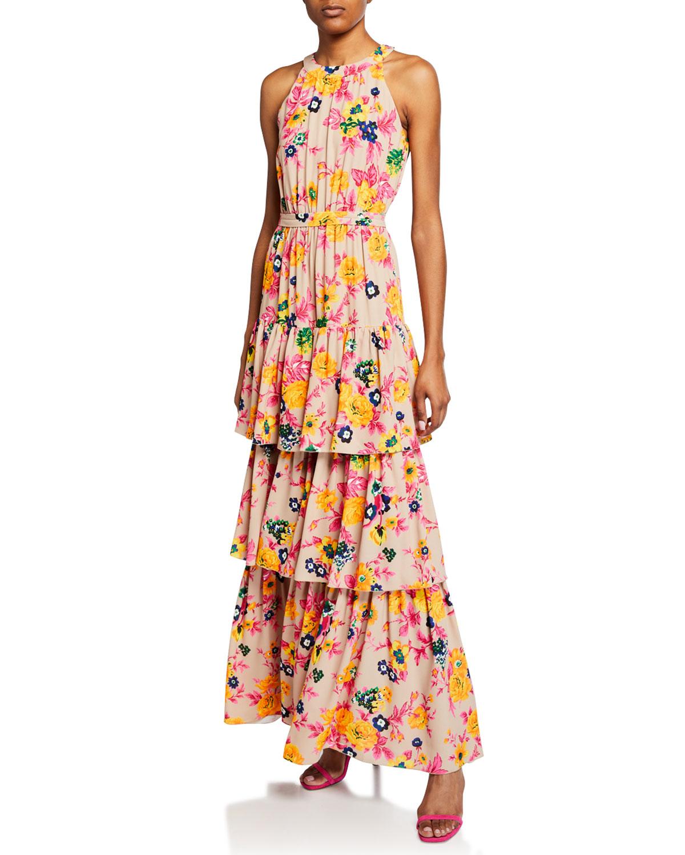 f07d17fc21 MSGM Floral-Print Halter Ruffle Maxi Dress