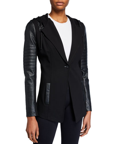 Blanc Noir Hooded Single-Button Moto Blazer