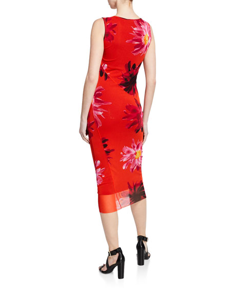 Fuzzi Fracture Sleeveless Floral-Printed Tank Dress
