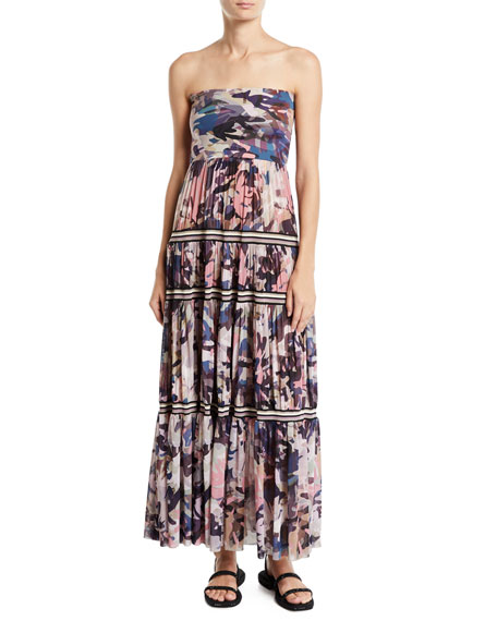 Fuzzi Long Camouflage-Print Convertible Skirt/Strapless Dress