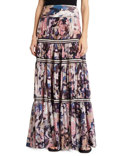 Long Camouflage-Print Convertible Skirt/Strapless Dress