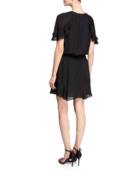 Parker George Flouncy Silk Tie-Front Short Dress