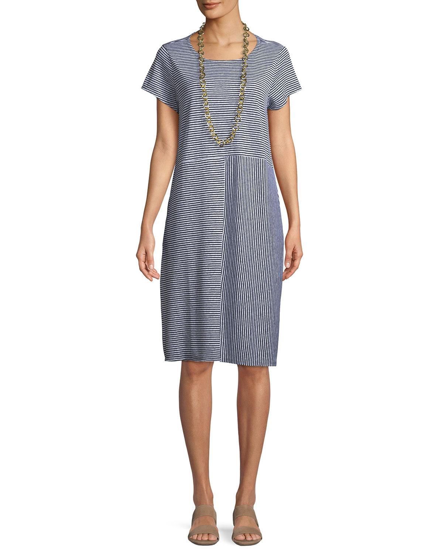 6a67c21dce Eileen Fisher Short-Sleeve Striped Organic Linen Jersey Dress ...