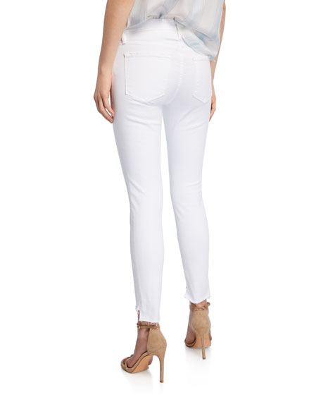 Image 2 of 4: FRAME Le Skinny De Jeanne Mid-Rise Raw Stagger-Hem Jeans