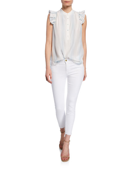 Image 3 of 4: FRAME Le Skinny De Jeanne Mid-Rise Raw Stagger-Hem Jeans