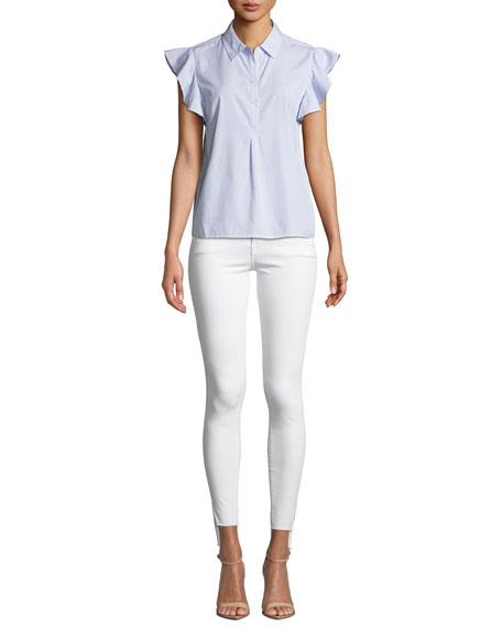 Image 4 of 4: FRAME Le Skinny De Jeanne Mid-Rise Raw Stagger-Hem Jeans
