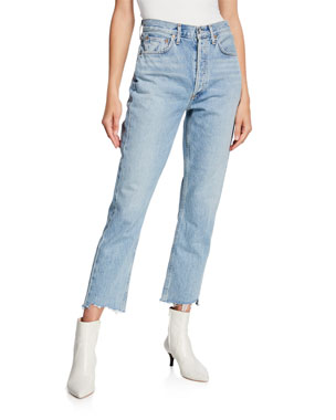 dd9703555f87 AGOLDE Riley High-Rise Straight Crop Stagger Jeans