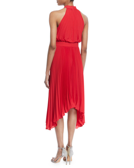 Image 2 of 2: Aidan by Aidan Mattox Pleated Halter Cocktail Dress w/ Banded Waist
