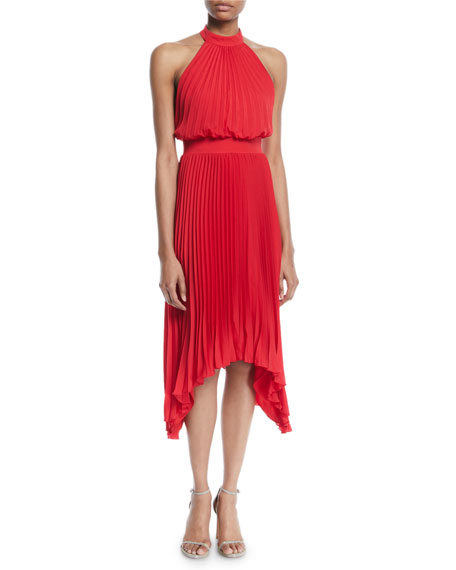 Image 1 of 2: Aidan by Aidan Mattox Pleated Halter Cocktail Dress w/ Banded Waist