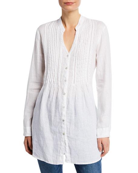 120% Lino Band-Collar Pintucked Button-Front Long-Sleeve Linen