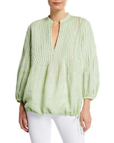 3/4-Sleeve Pintucked Linen Poet Shirt w/ Drawstring Hem