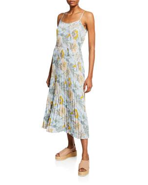 0ca8e8d47bb Vince Marine Garden Pleated Long Cami Dress