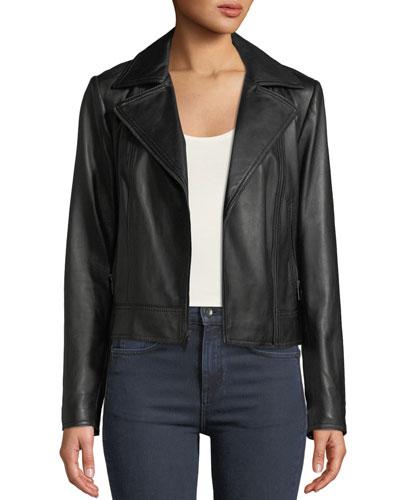 Asymmetric Zip-Front Long-Sleeve Lamb Leather Moto Jacket