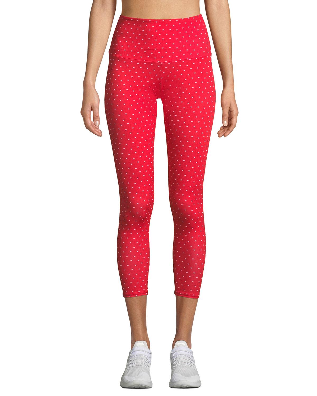 6d3717515 Onzie High-Rise Basic Midi Heart-Print Yoga Leggings