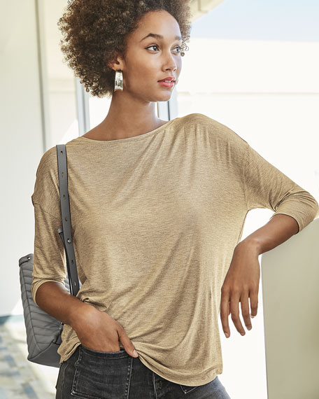 Image 2 of 3: Majestic Filatures Soft-Touch Metallic Long-Sleeve Boat-Neck Top