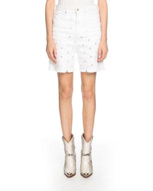 eba9f6b5d Etoile Isabel Marant Liny Mid-Rise Frayed Denim Shorts with Holes