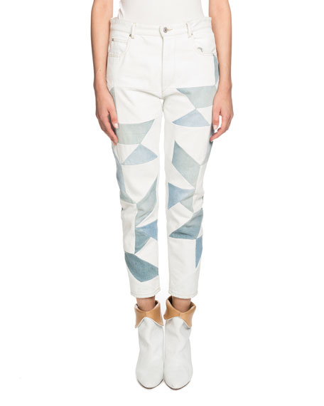 Etoile Isabel Marant Lea Patchwork Ankle Skinny Jeans