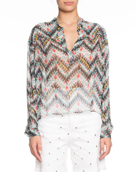 Etoile Isabel Marant Emana Printed Button-Front Sheer Top