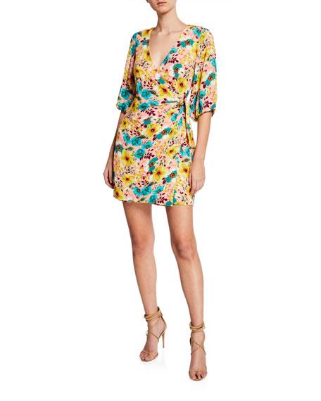 Aidan by Aidan Mattox Floral-Print 3/4-Sleeve Wrap Cocktail Dress
