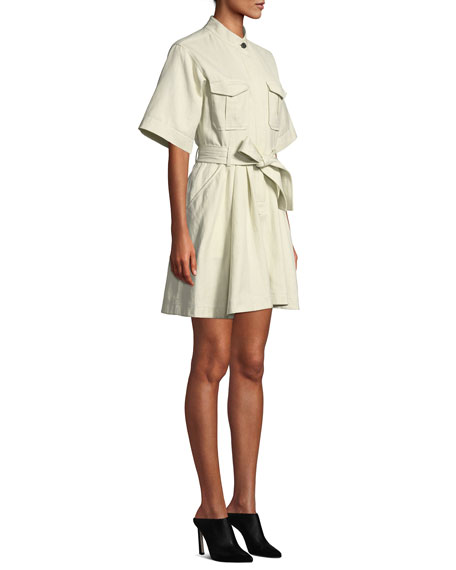 A.L.C. Bryn Short-Sleeve Belted Dress