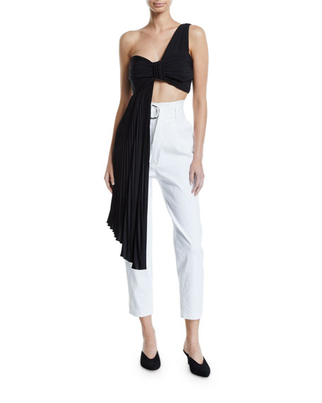 A.L.C. Liv Draped One-Shoulder Plisse Crop Top