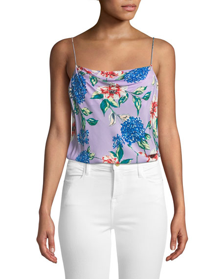 Parker Tops SUMMER FLORAL-PRINT SPAGHETTI-STRAP TOP