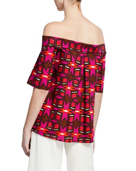 Aspesi Off-the-Shoulder Short-Sleeve Geometric-Print Cotton Poplin Top