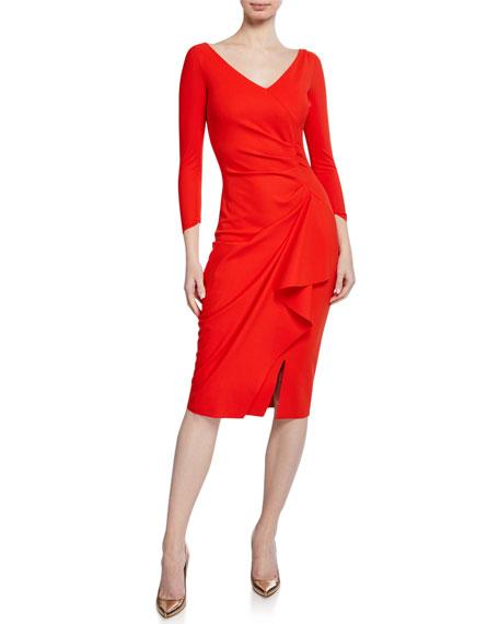 Chiara Boni La Petite Robe Kloty V-Neck 3/4-Sleeve Dress with Asymmetric Side Drape