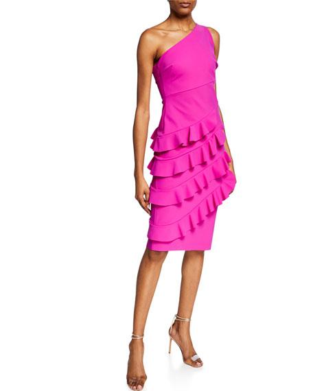 Chiara Boni La Petite Robe Matte One-Shoulder Cocktail Dress with Layered Ruffle Skirt