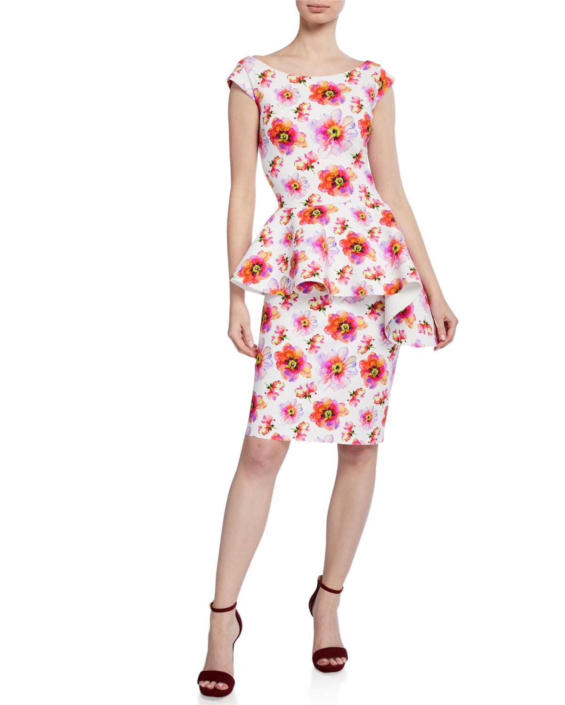 c9bd2eccbf8e7 Chiara Boni La Petite RobeEtheline Floral-Print Boat-Neck Cap-Sleeve Peplum  Dress