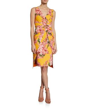 Chiara Boni La Petite Robe Floral-Print V-Neck Sleeveless Dress with Overlay Skirt