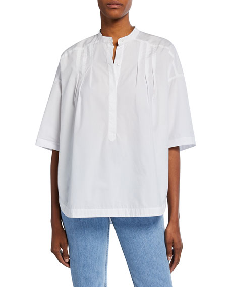 A.L.C. Joan Short-Sleeve Pleated Cotton Top