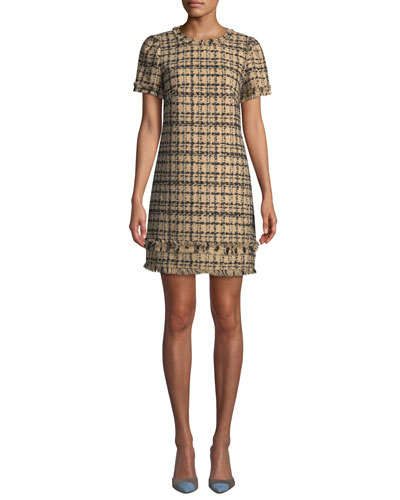 Bicolor Tweed Crewneck Short-Sleeve Mini Dress w/ Fringe Trim
