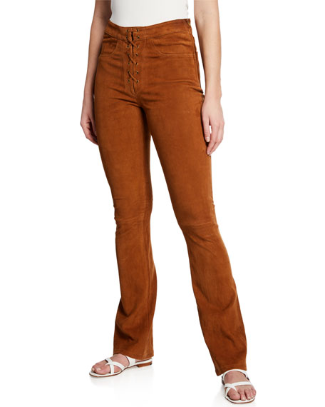 FRAME Lace-Up Suede High-Rise Boot-Cut Pants