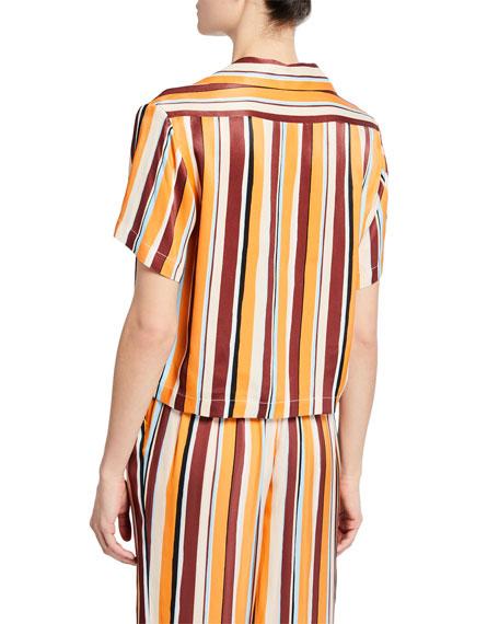 FRAME Mini Striped Button-Front Short-Sleeve Shirt