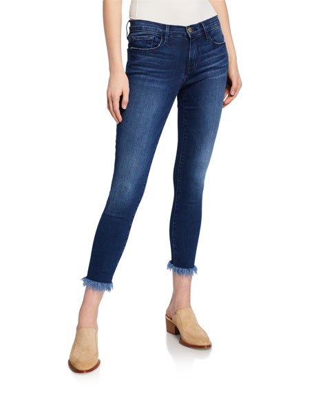 FRAME Le Skinny De Jean Crop Skinny with Shredded Hem