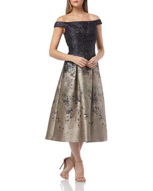 c6a2017963 Kay Unger New York Metallic Off-the-Shoulder Short-Sleeve Midi Cocktail  Dress