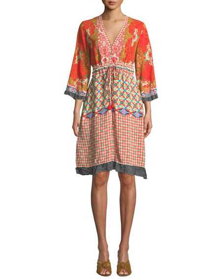 Johnny Was Rayne V-Neck 3/4-Sleeve Printed Crepe Dress w/ Drawstring-Waist