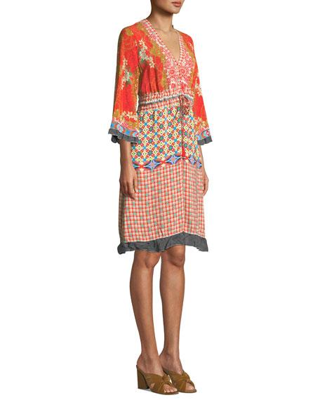 Johnny Was Plus Size Rayne V-Neck 3/4-Sleeve Printed Crepe Dress w/ Drawstring-Waist